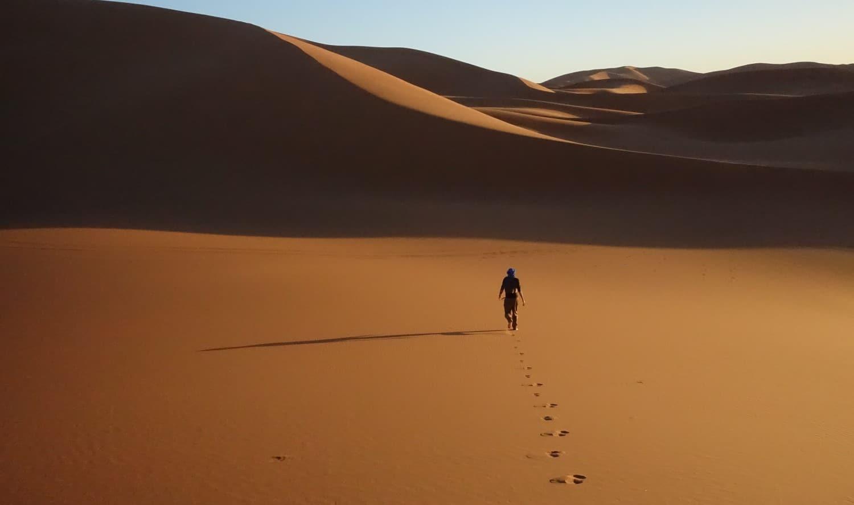 Wandern in der Sahara.