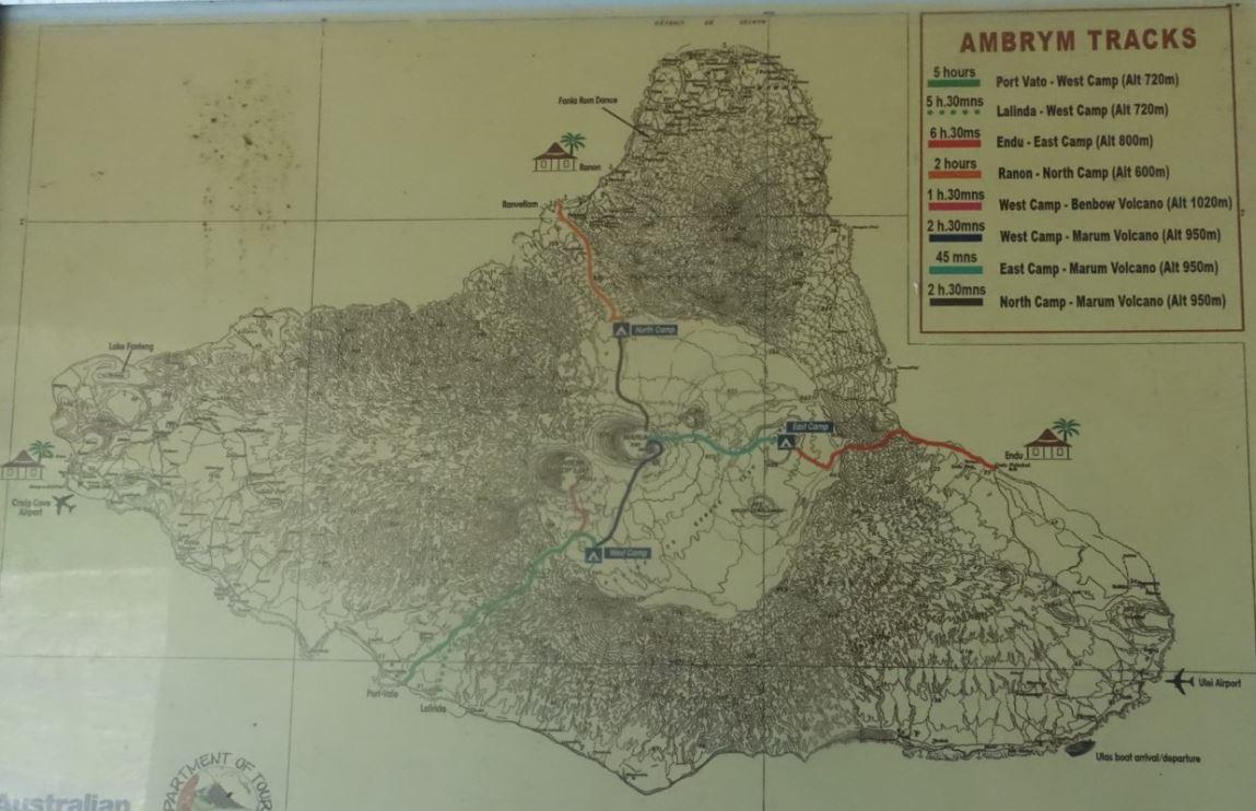 Karte der Vulkantouren und Wege auf Ambrym.