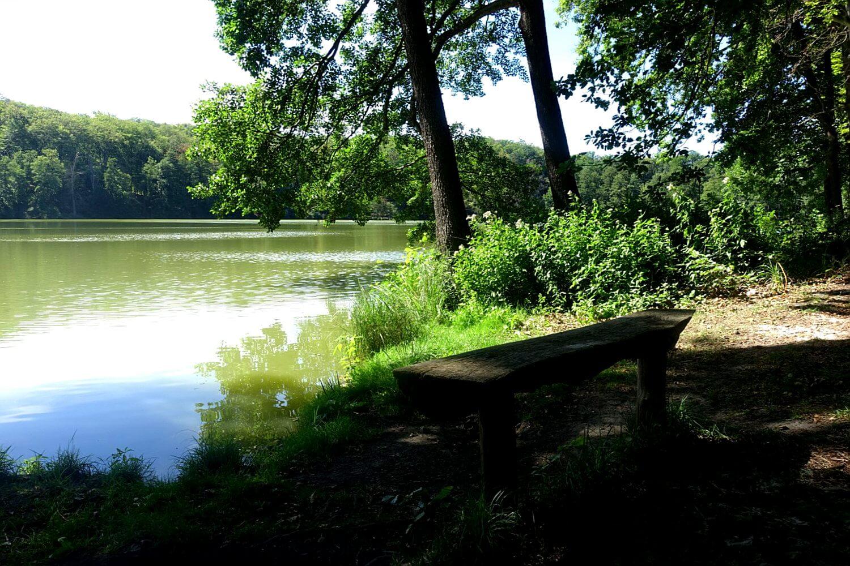 Bank zum Rasten für Wanderer am Ufer der Schlaube.
