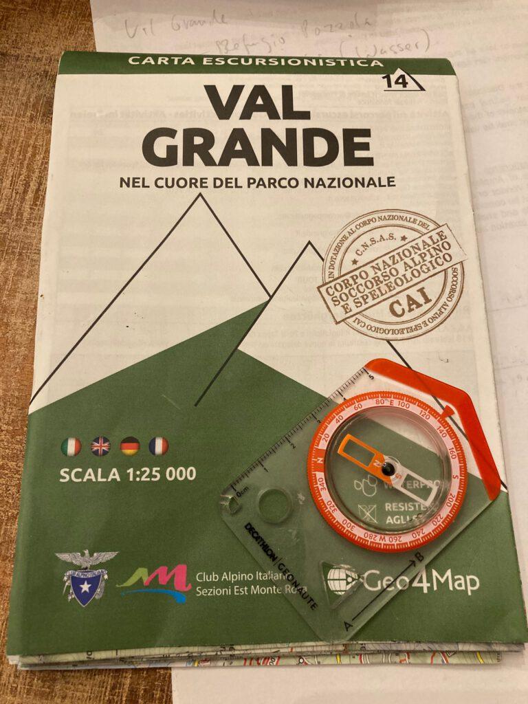 Karte im Maßstab 1.25.000 vom Val Grande.