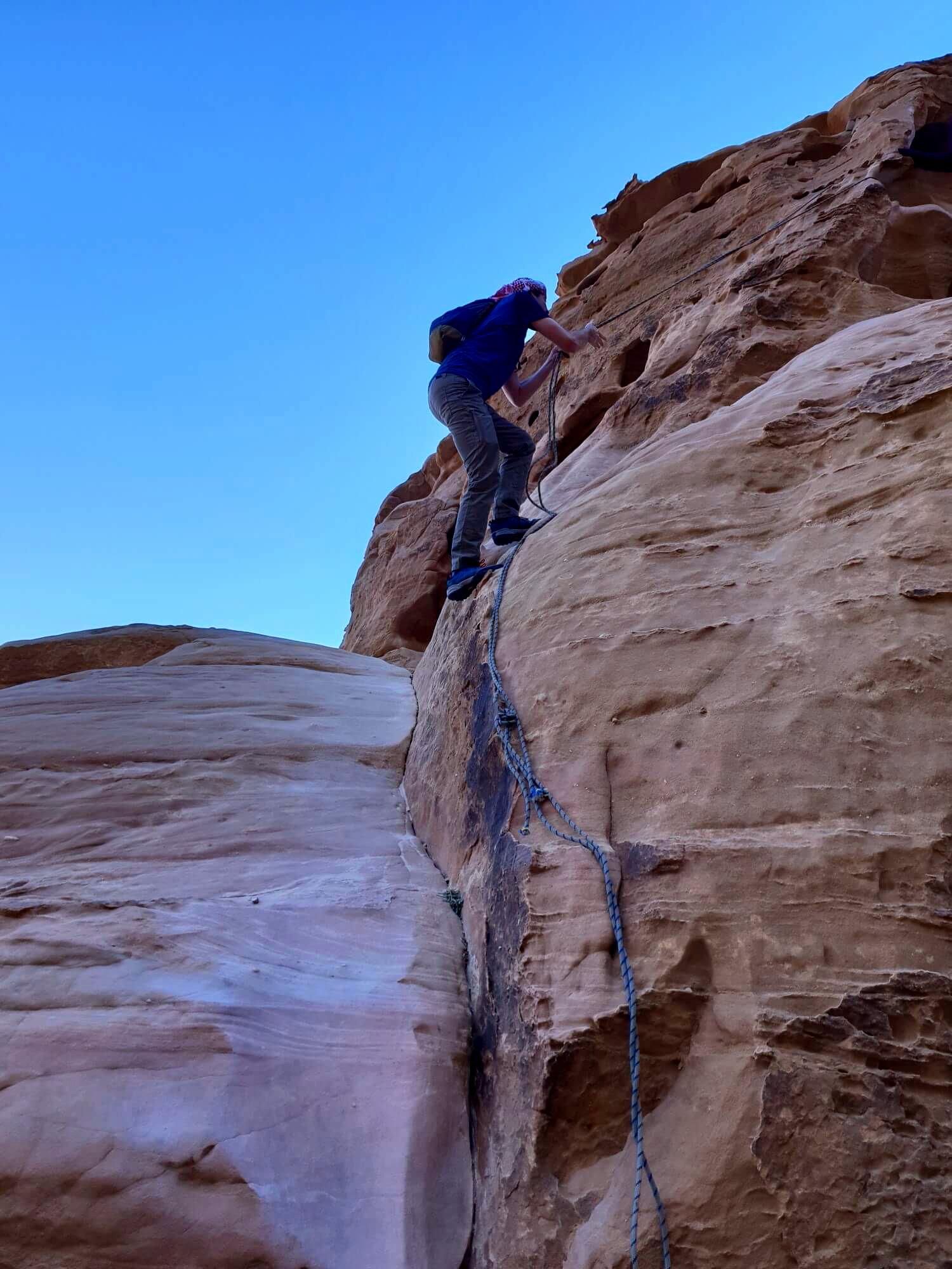 Kletterabenteuer im Wadi Rum.