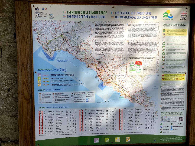 Cinque Terre Wanderkarte des Nationalparks.