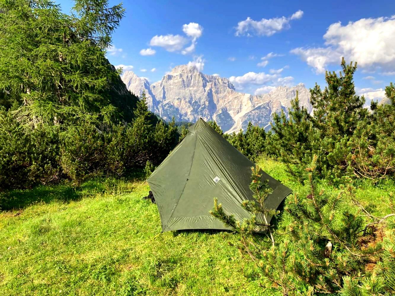 Ultraleicht-Trekking mit Zelt in den Dolomiten